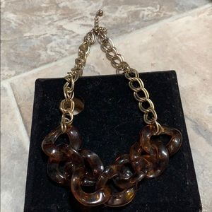 Jewelry - Gold colored necklace, brown Cheetah print links